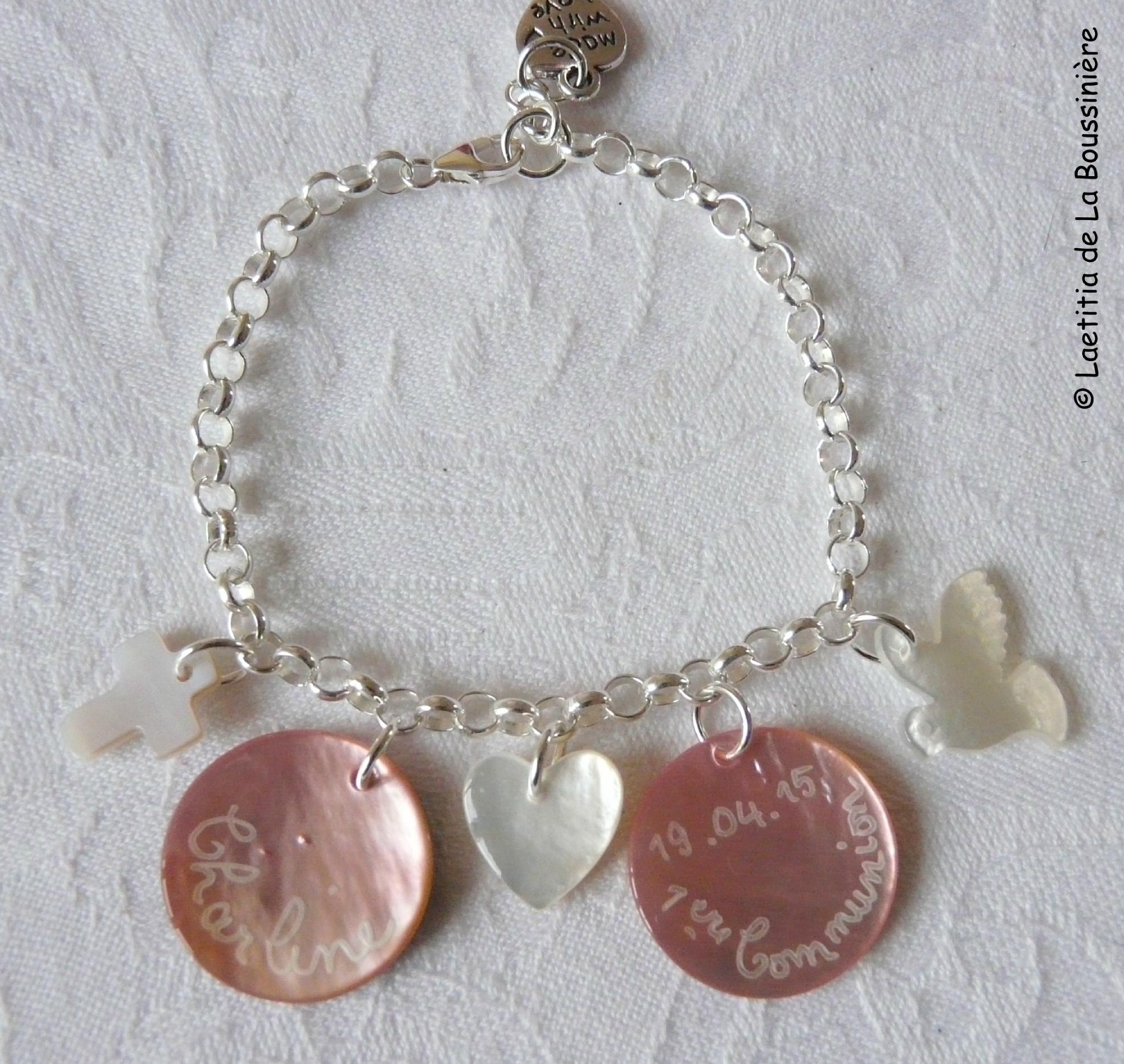 Bracelet sur chaîne argent massif médailles et mini pendentifs en nacre