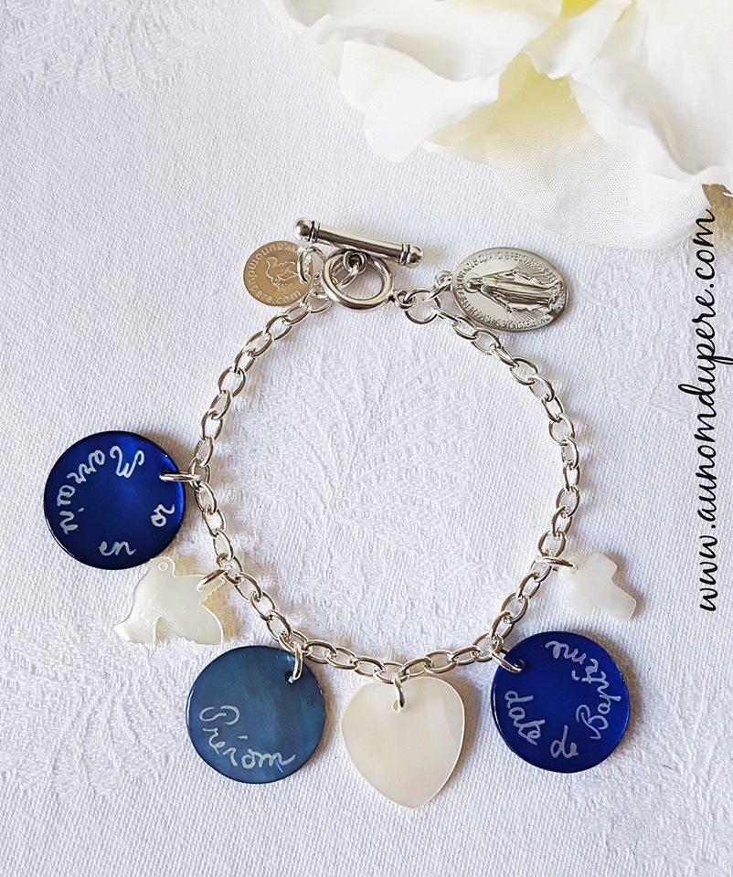 Bracelet Marraine en or (3 médailles en nacre)