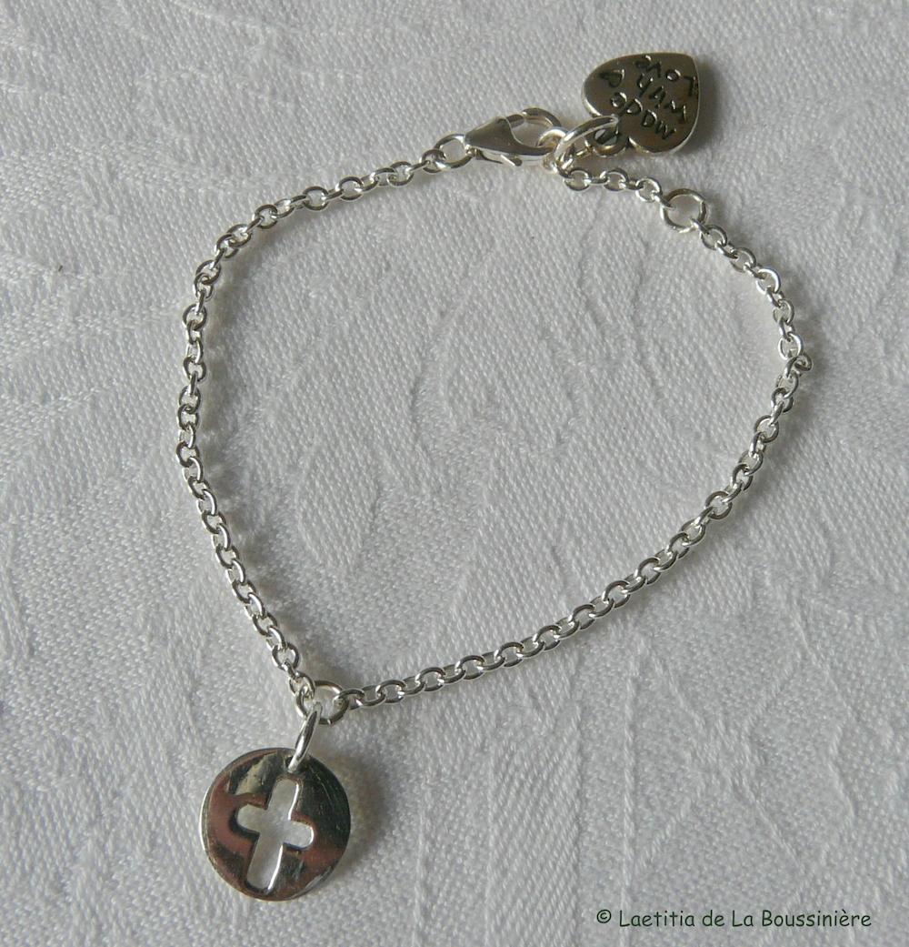 Bracelet mini médaille Croix
