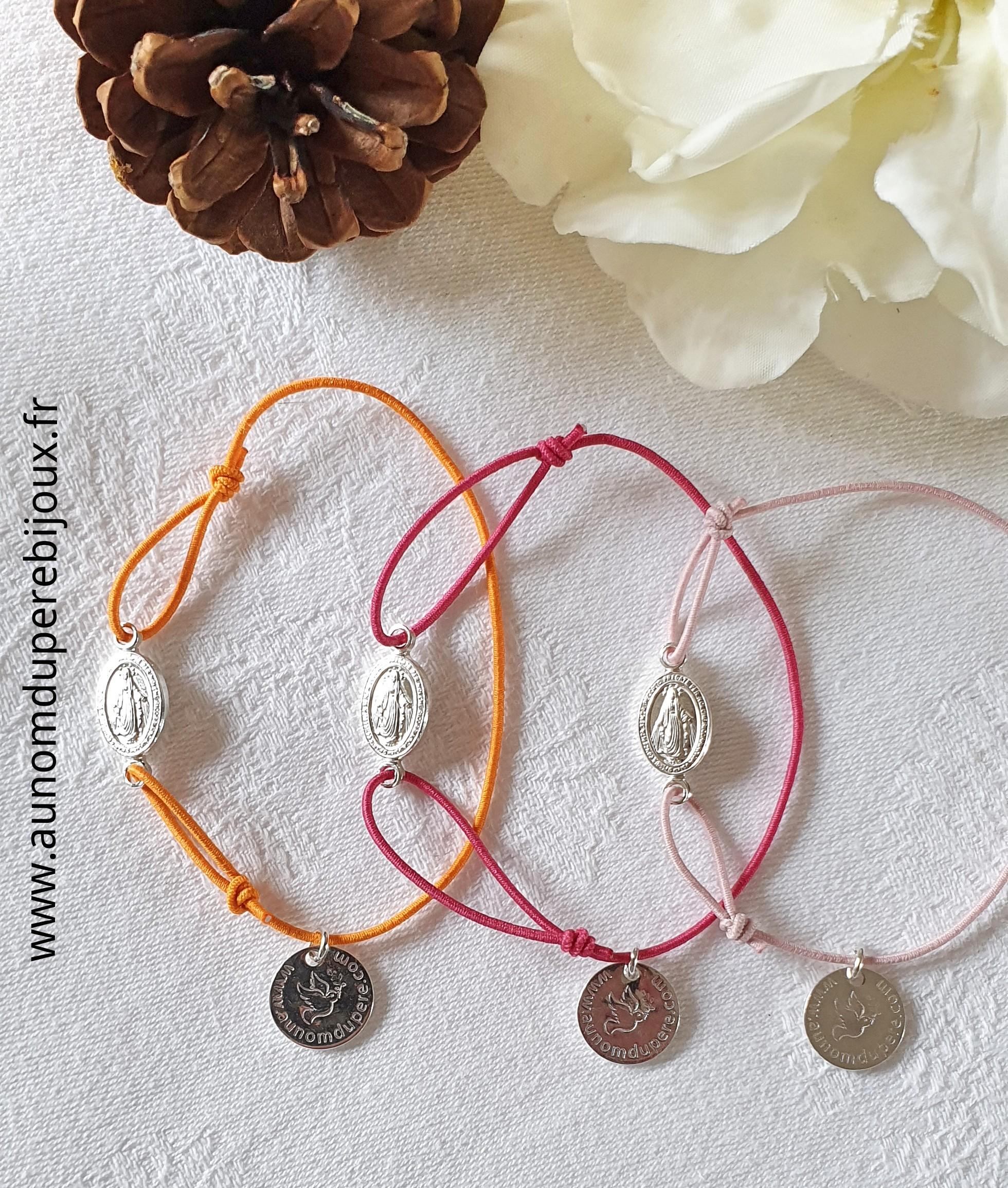 Bracelet Médaille miraculeuse sur fil élastique (plaqué or ou argent massif)
