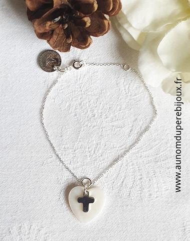 Bracelet coeur et mini croix (sur chaîne argent 925)