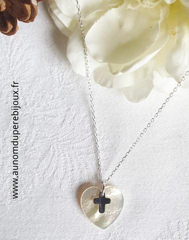 Collier coeur et mini croix (sur chaîne argent 925)