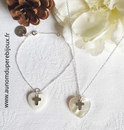 Ensemble collier et bracelet coeur et croix (sur chaîne en argent 925)
