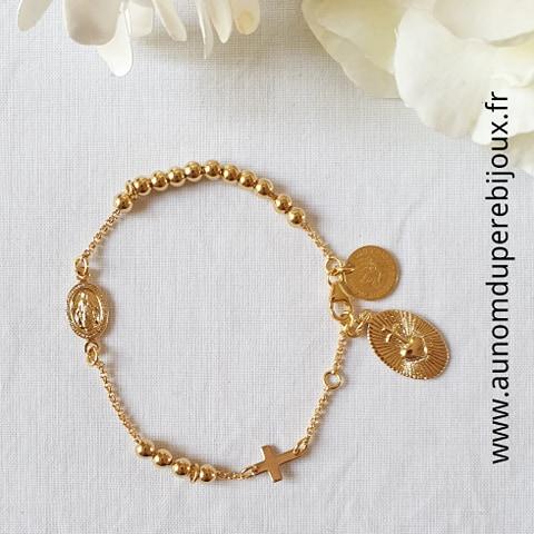 Bracelet Chapelet avec Coeur Sacré - plaqué or ou argent massif