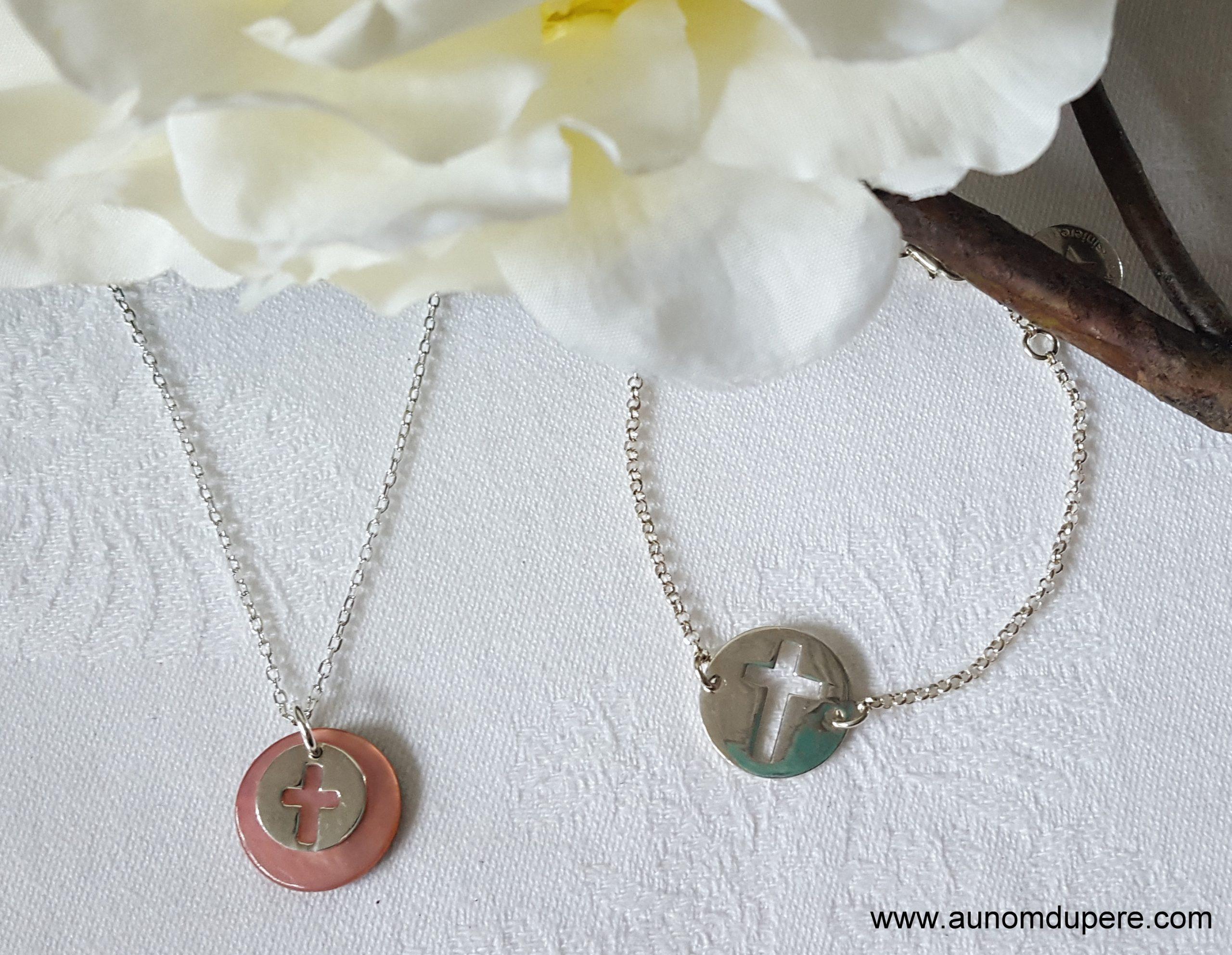 Ensemble collier Mini médaille Croix et bracelet Pastille Croix