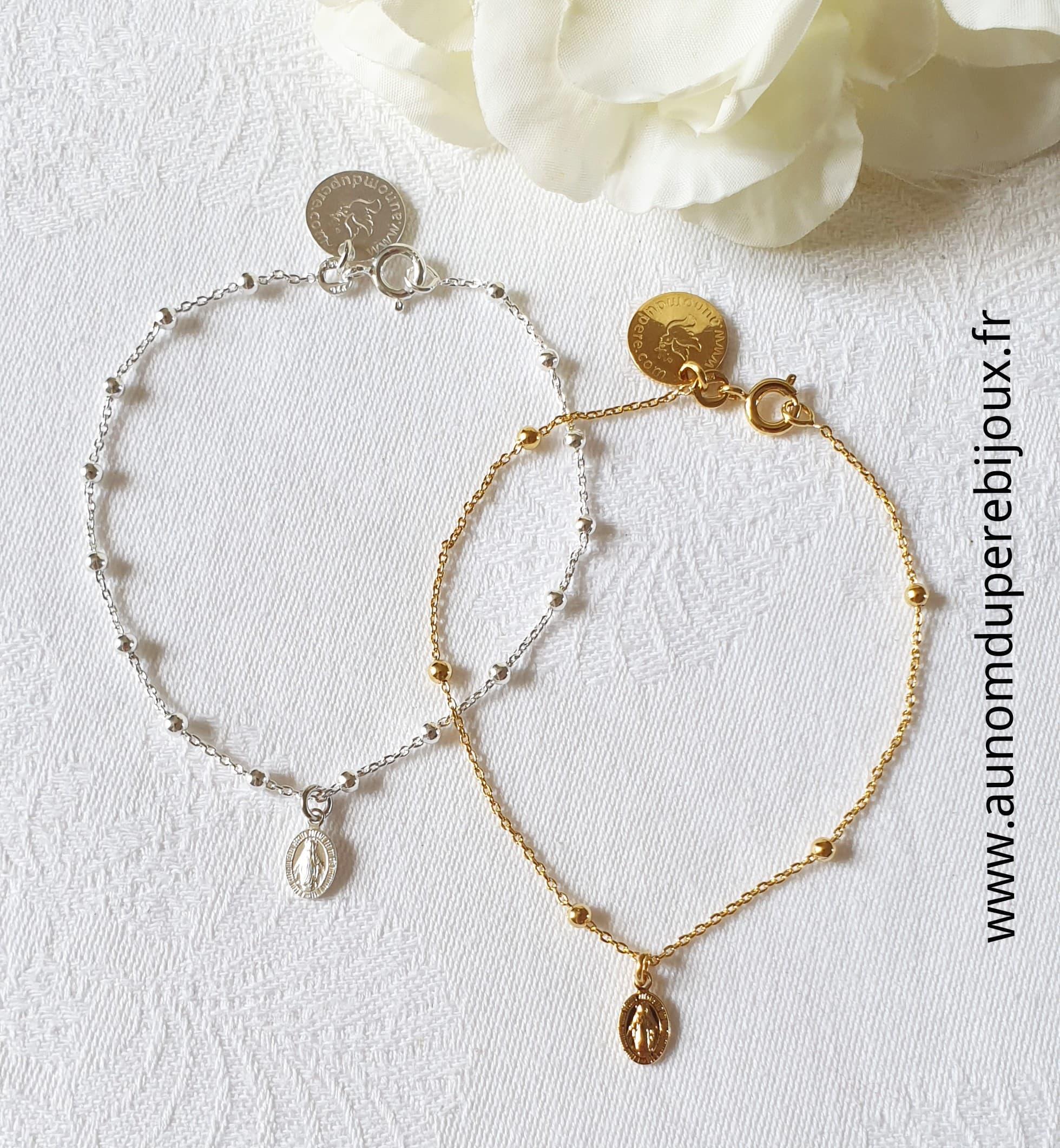 Bracelet mini médaille miraculeuse sur chaîne perlée
