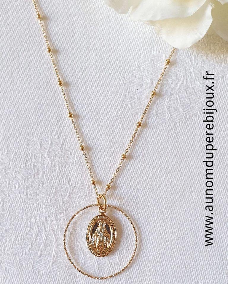 Collier médaille miraculeuse sur chaîne