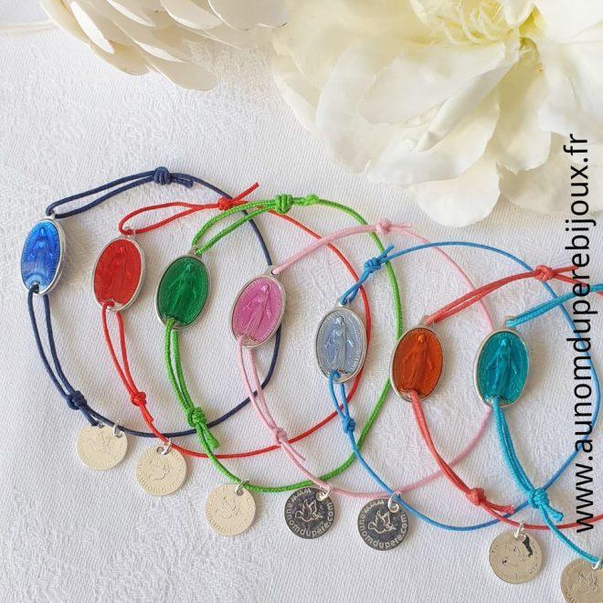 Bracelet médaille miraculeuse émaillée sur cordon fin