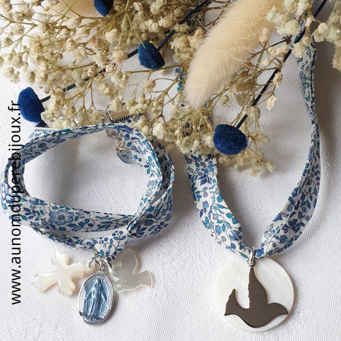Ensemble Bracelet de l'Annonciation et collier de Confirmation sur ruban