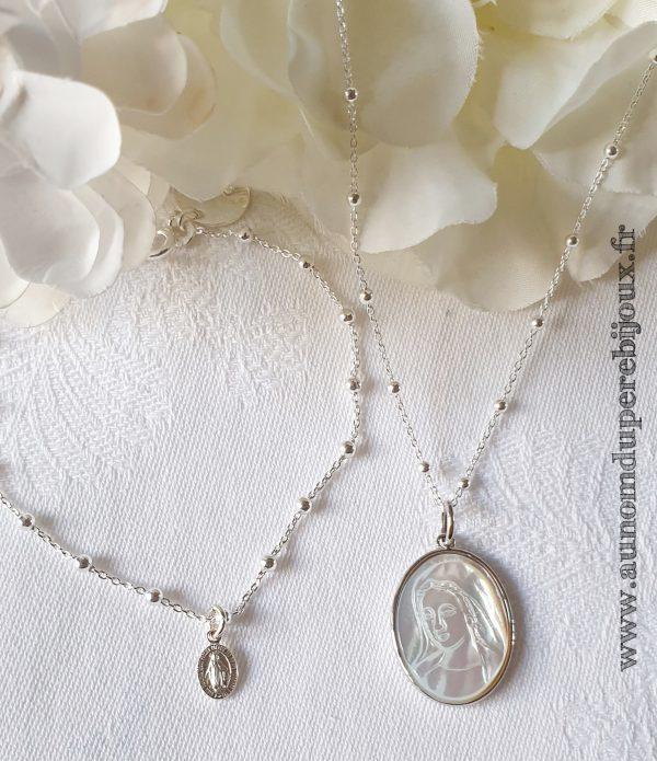 Ensemble collier médaille Sainte Vierge en nacre sertie et bracelet mini médaille miraculeuse (en argent 925)